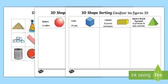 3D Shape Sorting Activity English/Spanish - 3D Shape Sorting Activity - 3D shapes, shapes, sorting, 3D, match, shpes, 3d shaoes, shape sorter, 3