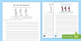 Do you like school? Opinion Writing Template - Opinion writing, ELA, Common Core, Supporting Details, Graphic Organizer