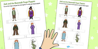 Jack and the Beanstalk Finger Puppets - finger, puppets, jack