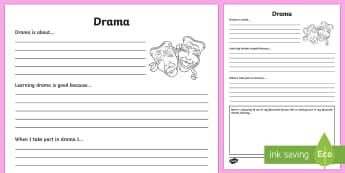 Drama Reflection Writing Template - writing template, subject, self assessment, feelings, drama, arts education