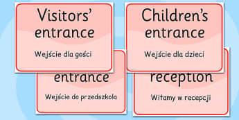 School Office Reception Signs EAL Polish Translation - EAL display