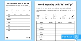 Year 2 Spelling Practice /n/ spelled 'kn' and 'gn' Go Respond Activity Sheet  - ks1, English, year 2, practice, home learning, home work, Worksheet, homework, practise, SPaG, spell