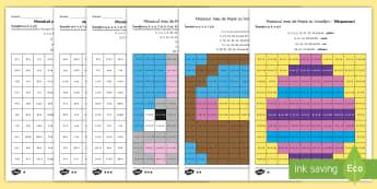 Mozaic de Paște: Calculează  produsul și colorează după codul culorilor - Fișe de lucru  diferențiate - matematică, inmulțiri, înmulțirea, fișe,a ctivități, română, materiale, paște, pascal, pas