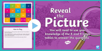 Multiplication (8 and 9 Times Table) Reveal the Picture Plenary Activity - CfE Numeracy and Mathematics, ICT, interactive, revision, recap, number, processes, multiply, times,
