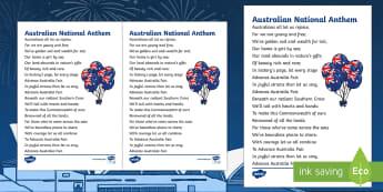 Advance Australia Fair National Anthem Print-Out - Australian Requests,Australia, national anthem, patriotic