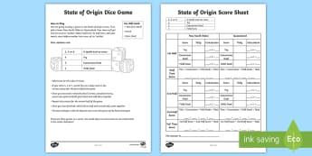 State of Origin Dice Game - Australian Sporting Events Maths, ACMNA076, rugby maths, state of origin, dice, year 4 maths, mental