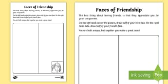 Faces of Friendship Activity Sheet - unique, same, similarities, differences, face, recognise, recognition, draw, pencil, sketch, lightly