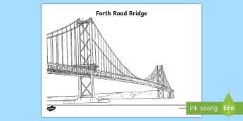 Forth Road Bridge Colouring Page - Scottish Landmarks, technology, engineering, STEM, Forth Bridges, Forth Road Bridge, CfE, tourist at