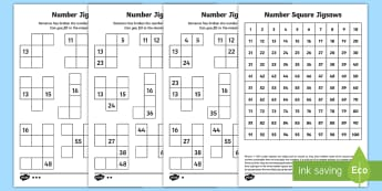 Number Square Jigsaws Activity Sheets - year 2, maths, place value, homework, hundred square, missing numbers, worksheets, 100 square, numbe