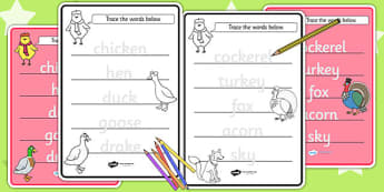 Chicken Licken Trace the Words Worksheets - tracing, stories