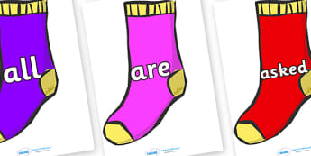Tricky Words on Socks - Tricky words, DfES Letters and Sounds, Letters and sounds, display, words