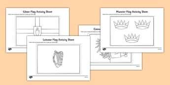 Provinces of Ireland Flags Colouring Sheets - provinces of Ireland, Leinster, Munster, Connacht, Ulster, colouring sheets, flags