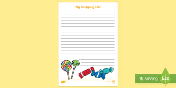 Sweet Shop Shopping List Writing Frames - Sweet Shop Shopping List - sweet shop, role-play, shopping, list, shoppinglist, grocery store, ritin