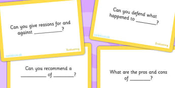 Bloom's Taxonomy Level 6 Evaluating Challenge Cards - blooms