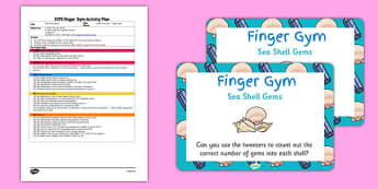 EYFS Sea Shell Gems Finger Gym Plan and Prompt Card Pack - eyfs, shell, gems, plan, prompt, card, pack