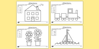 Colour By 2D Shapes Romanian Translation - romanian, colour, 2d shapes, 2d, shapes, colouring, activity