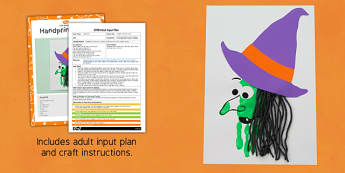 Handprint Witch EYFS Adult Input Plan And Craft Pack - handprint, witch, eyfs, plan, craft, pack, halloween
