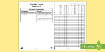 Australian History Foundation Assessment Marking Rubric Assessment Spreadsheet - Australian Families, ACHASSK011, outcomes, assessing