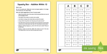 Squashy Box Addition Within 10 Craft - Mental Maths Warm Up + Revision - Northern Ireland, squashy boxes, addition within 20, odd and even.