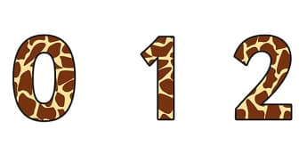 Giraffe Pattern Display Numbers - safari, safari numbers, safari display numbers, giraffe display numbers, giraffe pattern display numbers, giraffe pattern