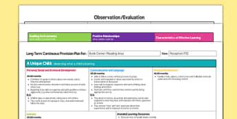 Book Corner Or Reading Area Editable Continuous Provision Plan Reception FS2