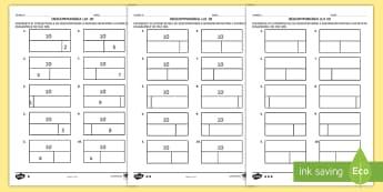 Descompunerea lui 10 pe grafic cu bare Fișe de activitate - descompuneri, adunări, scăderi, exerciții, numerație, ,Romanian