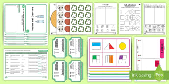 Fractions Halves and Quarters Activity Stations - CfE, half, sharing, equal parts, active maths, fraction,Scottish