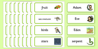 Adam and Eve Creation Story Word Cards - Adam, Eve, Eden, serpent, fruit, earth, garden, creation, creation story, word card, flashcards, cards, paradise, sea creatures, birds, stars, moon, sun, tree, evil, knowledge, animals, sky, night, day