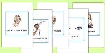 Ascultăm cu atenție - Planșe - ascultăm, atenție, planșe, reguli, regulile, regulile clasei, începerea școlii, romanian, materiale, materiale didactice, română, romana, material, material didactic