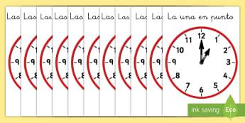 Pósters DIN A4: Relojes analógicos - En punto - decir la hora, reloj, analógico, relojes analógicos, hora en punto, en punto, la hora, el tiempo,