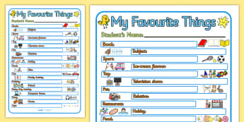 My Favourite Things Writing Frame - my favourite things, ourselves, all about me, my favourite things worksheet, my favourite things list, worksheet, writing frame