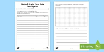 State of Origin Team Data Investigation Activity Sheet - Australian Sporting Events Maths, ACMMG096, data display, data investigation, year 4 maths, rugby ma