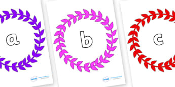 Phase 2 Phonemes on Wreaths - Phonemes, phoneme, Phase 2, Phase two, Foundation, Literacy, Letters and Sounds, DfES, display