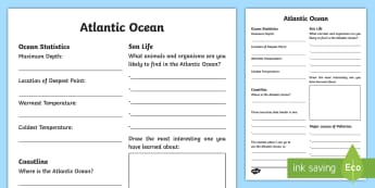 Atlantic Ocean Fact File Activity Sheet - Science Week, 10/03/17, Atlantic Ocean, facts, World Around Us, research, pollution, sea life, ocean
