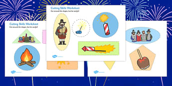 Bonfire Night Themed Cutting Skills Worksheet - fine motor skills