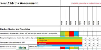 2014 Curriculum Year 3 Maths Assessment Spreadsheet - numeracy
