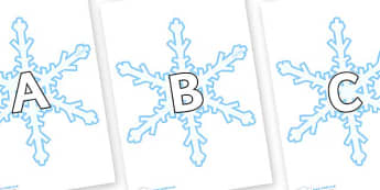 A-Z Alphabet on Snowflakes (New) - A-Z, A4, display, Alphabet frieze, Display letters, Letter posters, A-Z letters, Alphabet flashcards