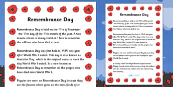 Remembrance Day Information Sheet - Remembrance Day Information Sheet, information, info, sheet, sheets, Remembrance Day, war, battle, world war, poppy, cross, army, fight, 11 November, Remembrance Sunday, heroes