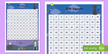 Magic Themed 100 Number Square