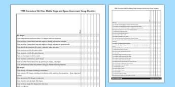 1999 Curriculum 5th Class Maths Shape and Space Assessment Group Checklist - roi, gaeilge, maths, curriculum, 1999
