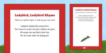 Ladybird, Ladybird Rhyme Poster -minibeasts, bugs, insects, beetles, creatures, ladybirds