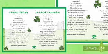 St. Patrick's Breastplate Display Poster - English/Gaeilge  - la feile padraig, Lá féile Pádraig, La Fheile Phadraig, lá le Phádraig, NI St. Patrick's Day Resources KS2, St. Patrick, Saint Patrick, Naomh Pádraig, Seachtain na Gaeilg