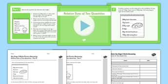KS2 Reasoning Test Practice Relative Sizes of Two Quantities Resource Pack - KS2, Key Stage 2, Reasoning, ratio