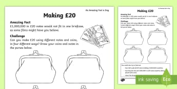 Making £20 Challenge Activity Sheet - Amazing Fact Of The Day, activity sheets, powerpoint, starter, morning activity, March, money, addin