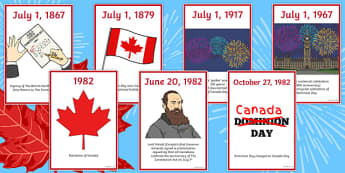 Canada Day Timeline Cards - canada, Canada Day, Canada's Birthday, Confederation, History, Dominion Day, The British North America Act, The Constitution Act, Parliament, holiday