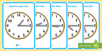 Analogue Clocks - Quarter Past - Time resource, Time vocabulary, clock face, O'clock, half past, quarter past, quarter to, shapes spaces measures, year 2, grade 2
