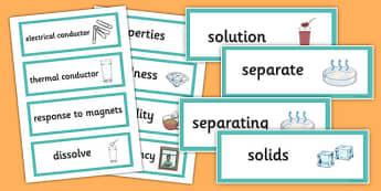 Year 5 Properties and Changes of Materials Vocabulary Word Cards - year 5, properties, changes, materials