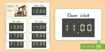 Digital Clocks O'Clock 24 Hour Cards  - New Zealand, Maths, clocks, time, digital, 24 hour, telling the time, digital clocks