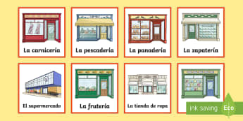 Shops in Town Matching Cards Spanish - Spanish KS2, shops, town, matching cards, shopping