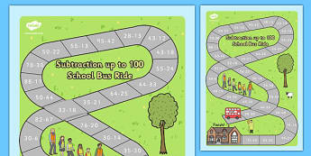 Subtraction to 100 Bus Board Game - subtraction to 100, subtraction, 100, bus board game, board game, bus, board, game, activity